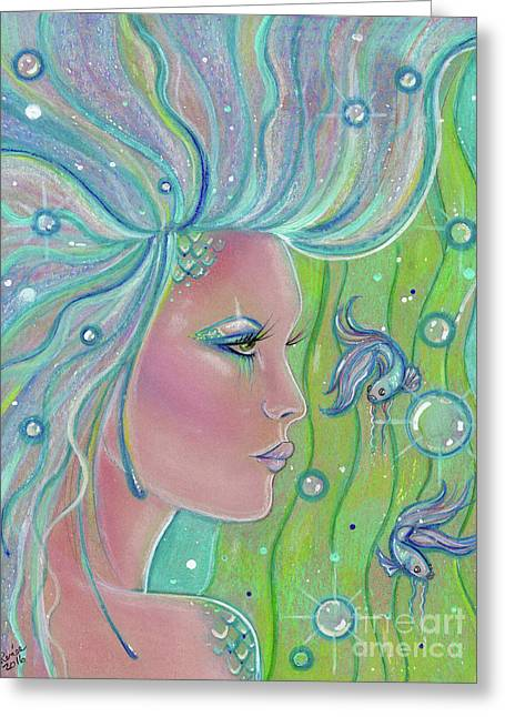 Mermaid Warrior Greeting Card by Renee Lavoie
