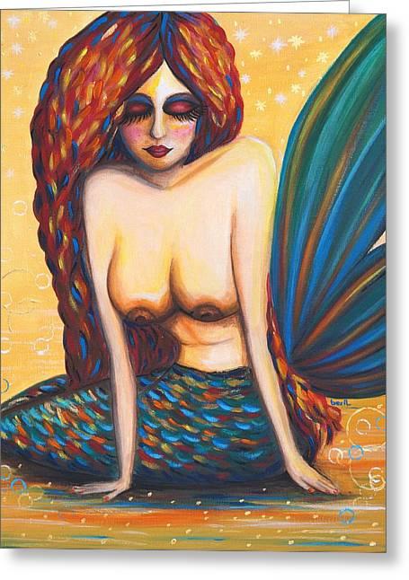 Mermaid Wet Greeting Card by Beryllium Canvas