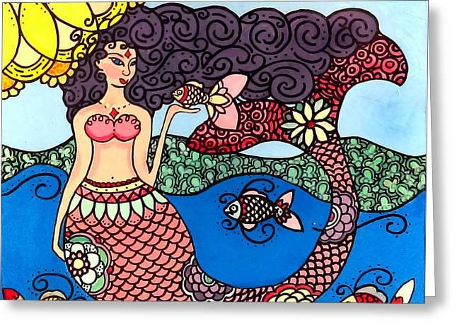 Mermaid With Fish Greeting Card