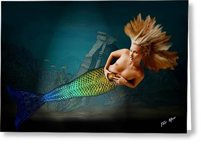 Mermaid With Gold Ball Greeting Card by Tray Mead