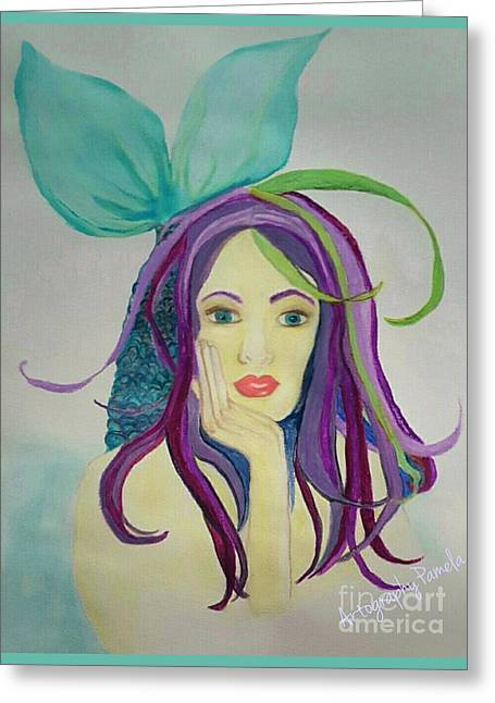 Mermaid With Mardis Gras Hair Greeting Card by ARTography by Pamela Smale Williams