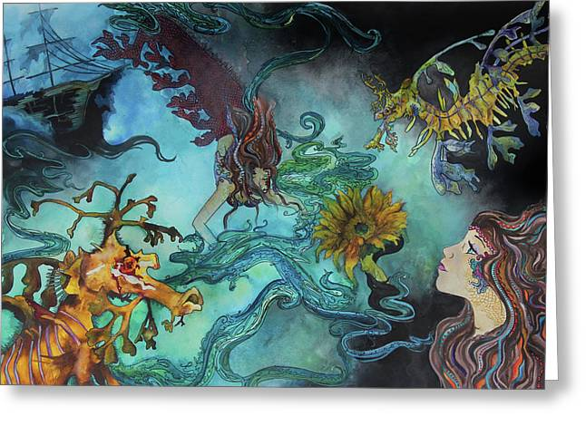 Mermaids And Sea Dragons  Greeting Card by Brittany Sibert