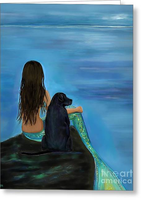 Greeting Card featuring the painting Mermaids Loyal Bud by Leslie Allen