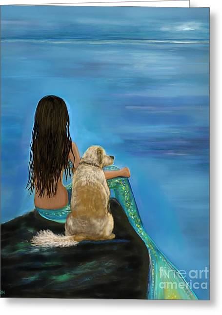 Greeting Card featuring the painting Mermaids Loyal Buddy by Leslie Allen