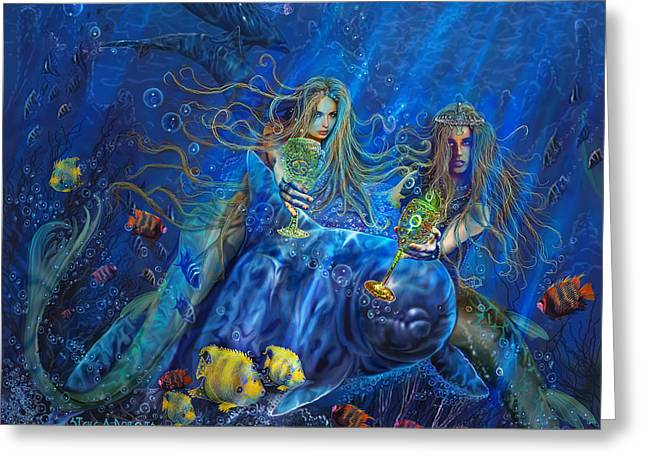 Greeting Card featuring the painting Mermaids Of Acqualainia by Steve Roberts