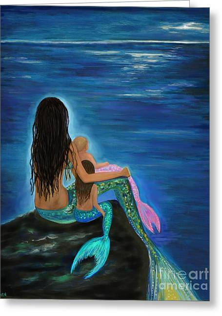 Greeting Card featuring the painting Mermaids Sweet Little Girls by Leslie Allen