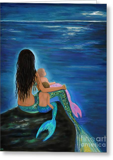 Greeting Card featuring the painting Mermaids Sweet Little Ones by Leslie Allen
