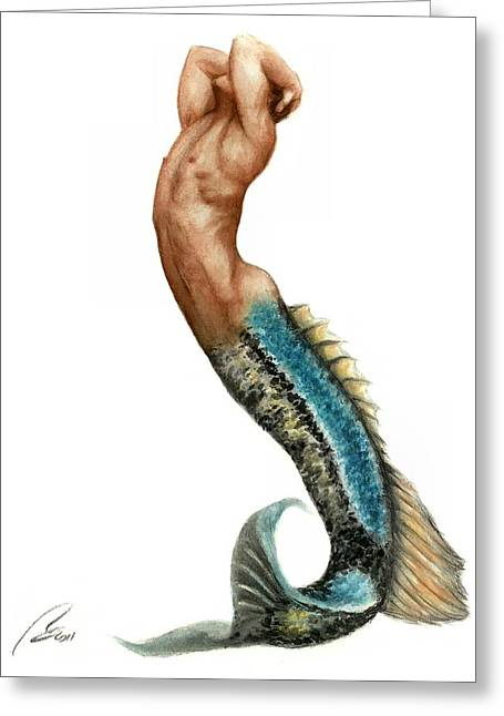 Merman Greeting Card by Bruce Lennon