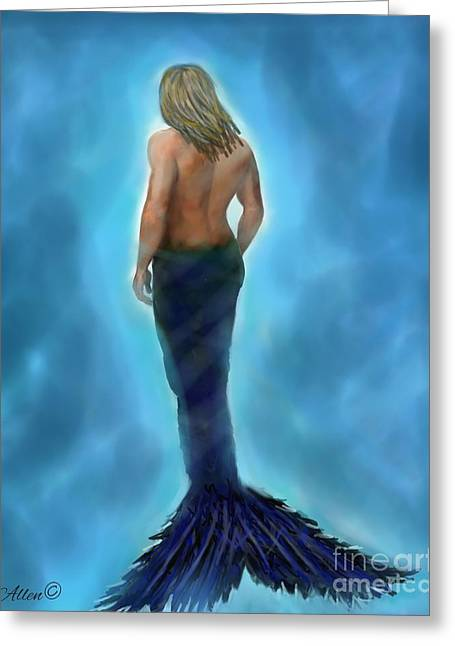 Greeting Card featuring the painting Merman Majestic by Leslie Allen