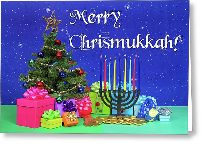 Merry Chrismukkah Greeting Card by Sheila Fitzgerald
