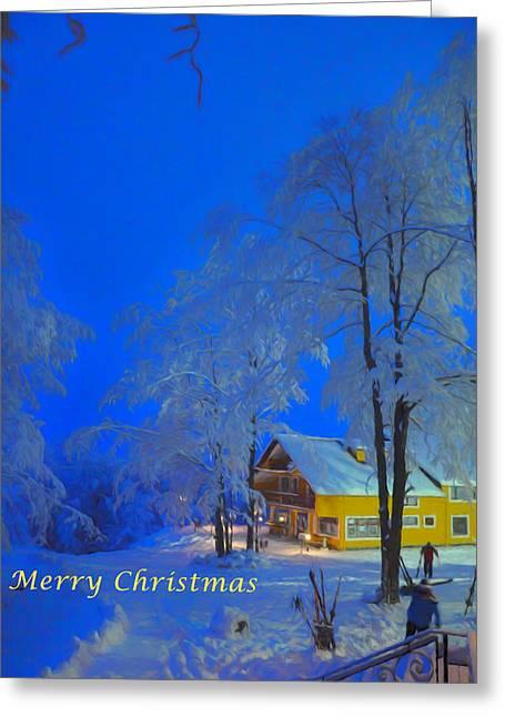 Merry Christmas Cabin Digital Art Greeting Card