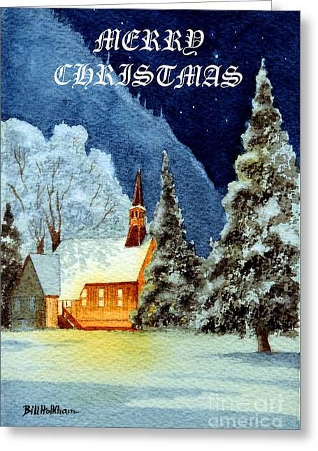 Merry Christmas Card Yosemite Valley Chapel Greeting Card by Bill Holkham