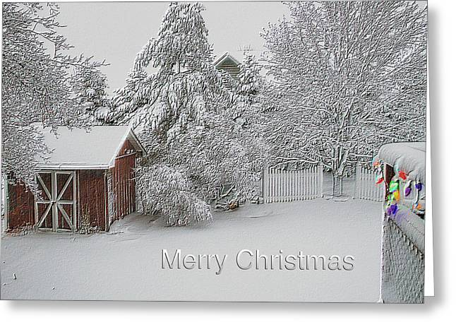 Merry Christmas Fresh Snow Fall In March Greeting Card by Thomas Woolworth