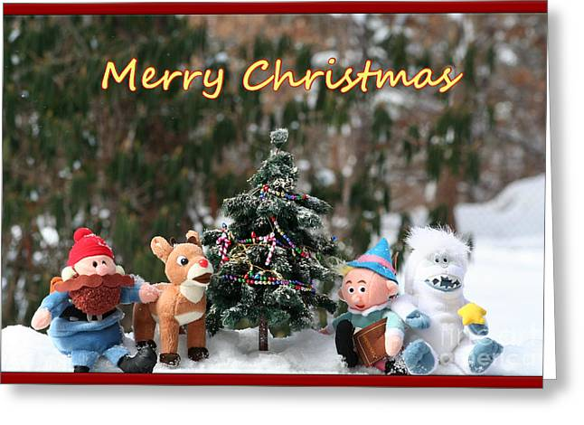 Merry Christmas From Rudolph And Friends Greeting Card by Deborah A Andreas