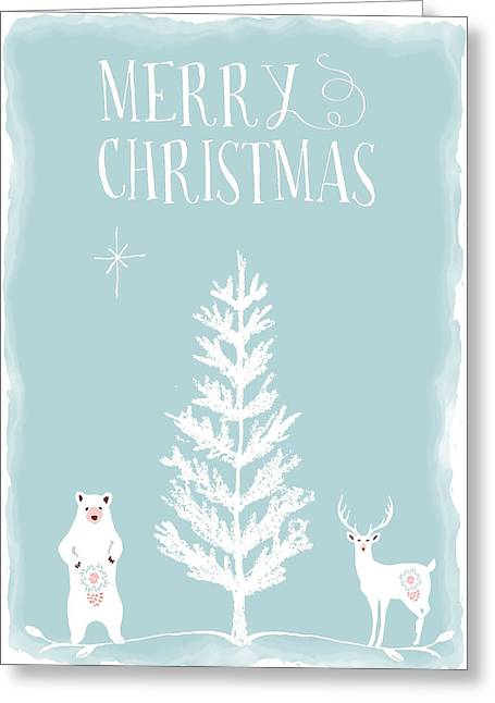 White Christmas Bear And Stag Greeting Card