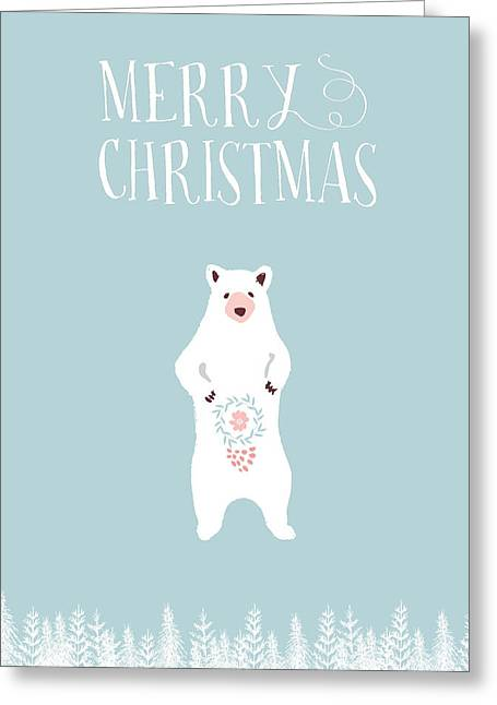 White Christmas Bear Greeting Card