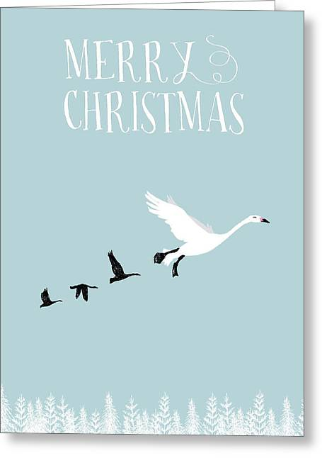White Christmas Geese Greeting Card