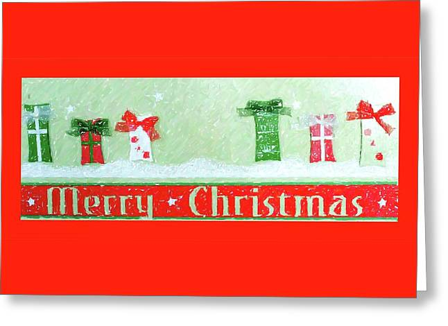 Greeting Card featuring the digital art Merry Christmas Gifts by Ellen Barron O'Reilly