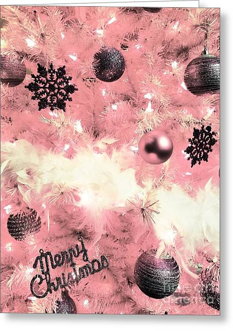 Merry Christmas In Pink Greeting Card
