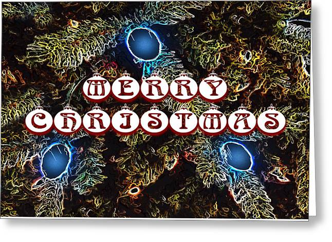 Merry Christmas Lights Two Greeting Card by Morgan Carter