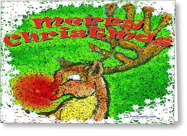 Merry Christmas Reindeer Greeting Card by Kevin Middleton