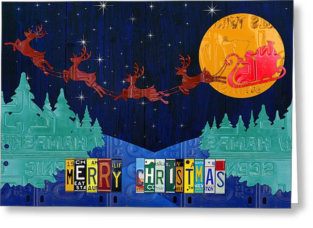 Merry Christmas Santa And His Sleigh Recycled Vintage License Plate Art Greeting Card