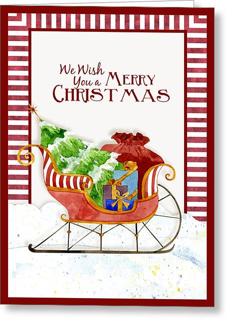 Merry Christmas Santa's Sleigh W Gifts In Snow Greeting Card by Audrey Jeanne Roberts