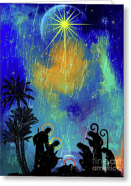 Greeting Card featuring the painting  Merry Christmas To All. by Andrzej Szczerski