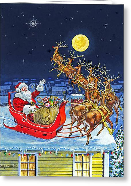 Rudolph Paintings Greeting Cards - Merry Christmas To All Greeting Card by Richard De Wolfe