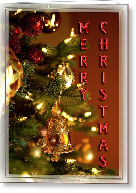 Merry Christmas Tree Ornaments Red Greeting Card