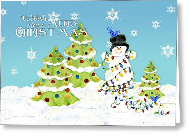 Merry Christmas Typography Snowman W Christmas Trees N Blue Birds Greeting Card by Audrey Jeanne Roberts