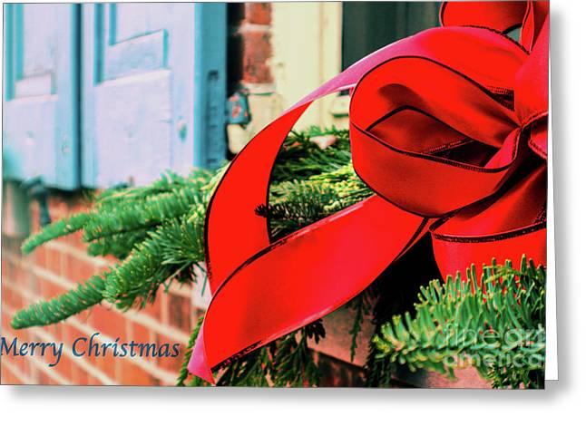 Merry Christmas Window Bow Greeting Card