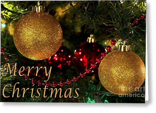Merry Christmas With Gold Ball Ornaments Greeting Card