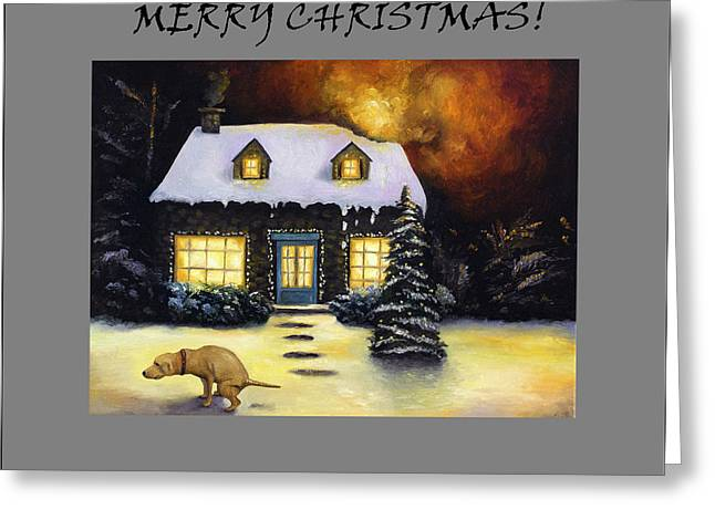 Merry Christmas With Kinkades Worst Nightmare Greeting Card by Leah Saulnier The Painting Maniac