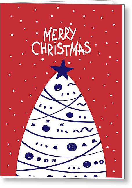 Greeting Card featuring the digital art Merry Christmas With Tree by Christopher Meade