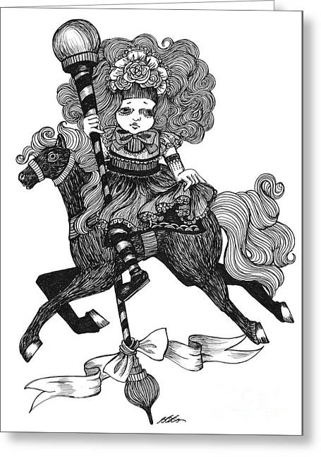 Merry-go-round Girl Greeting Card
