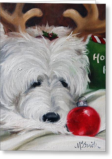 Westie Art Greeting Cards - Merry Ho Ho Greeting Card by Mary Sparrow