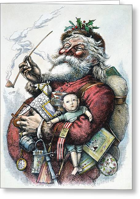Recently Sold -  - Nast Greeting Cards - Merry Old Santa Claus Greeting Card by Granger