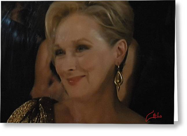 Greeting Card featuring the photograph Meryl Streep Receiving The Oscar As Margaret Thatcher  by Colette V Hera  Guggenheim