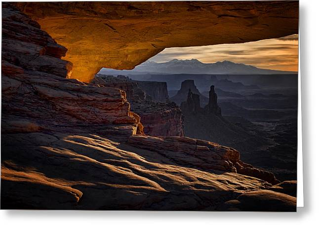 Greeting Card featuring the photograph Mesa Arch Glow by Jaki Miller