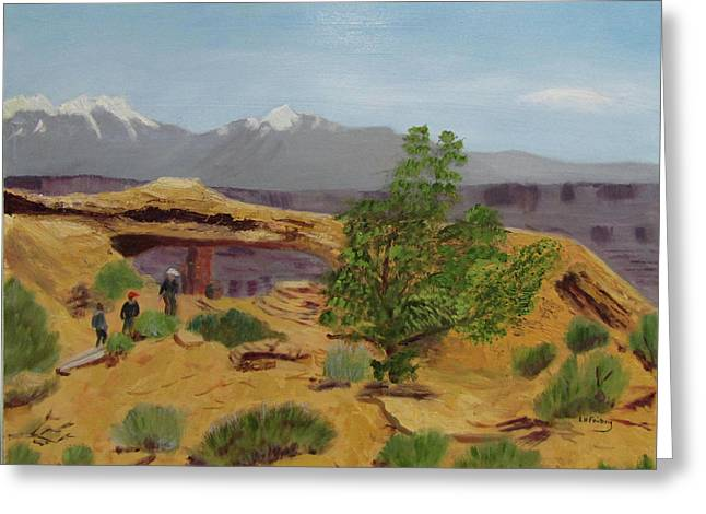 Greeting Card featuring the painting Mesa Arch by Linda Feinberg