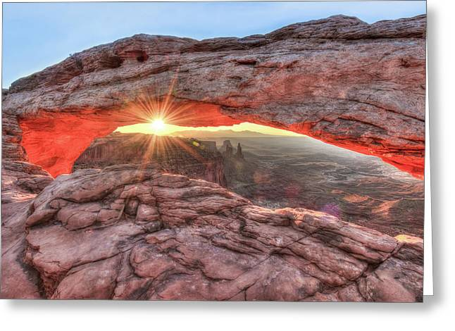 Mesa Arch Majesty - Canyonlands National Park Greeting Card by Gregory Ballos