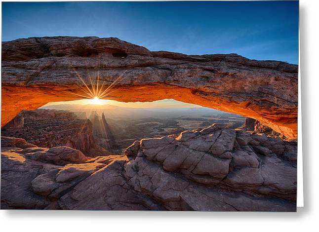 View Through The Mesa Arch At  Sunrise Greeting Card