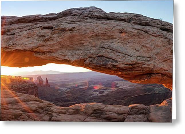 Mesa Arch Sunrise Panorama - Canyonlands National Park Greeting Card