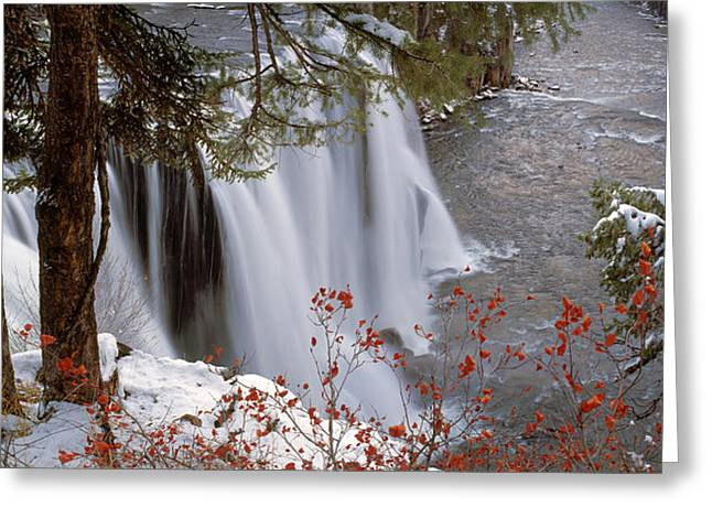 Mesa Falls Winter Greeting Card by Leland D Howard