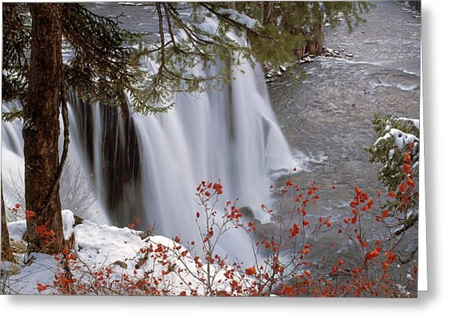 Mesa Falls Winter Greeting Card by Leland D Howard