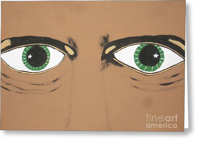 Greeting Card featuring the painting Mesmerized Eyes by Jeffrey Koss