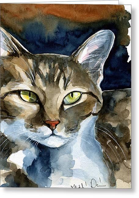 Mesmerizing Eyes - Tabby Cat Painting Greeting Card