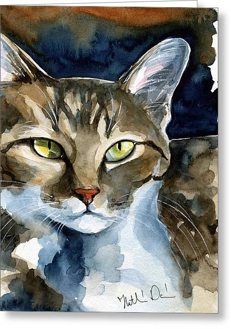 Mesmerizing Eyes - Tabby Cat Painting Greeting Card