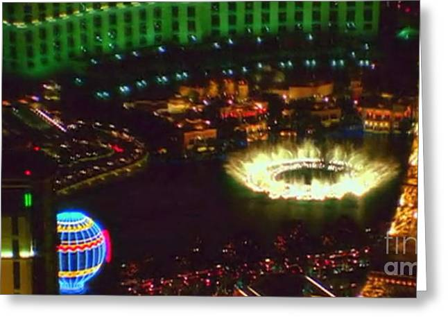 Mesmerizing Fountains Show Water Falls Casino Towers Las Vegas Ugly Picture Is High Use Of Water Ele Greeting Card